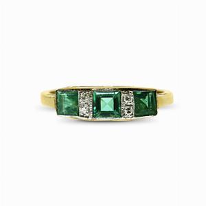 Emerald & Diamond Trilogy Ring